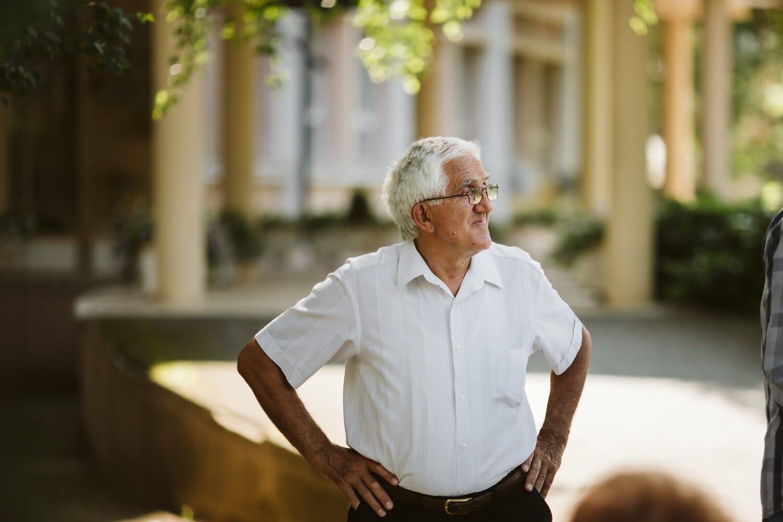 elderly, eyeglasses, gentleman, grey, hair, pants, shirt, man, senior, portrait
