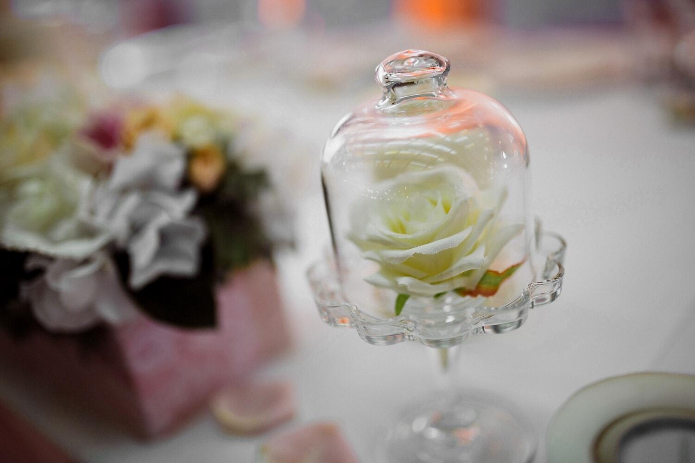 Dekoration, Kristall, Glas, weiße Blume, weiß, Empfang, Blume, elegant, stieg, Still-Leben