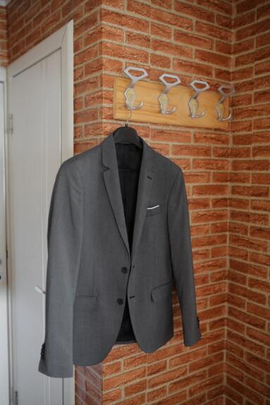Anzug, hängende, Jacke, Verkleidung, Kleidungsstück, Kleidung, Mode, Retro, Urban, Ziegel