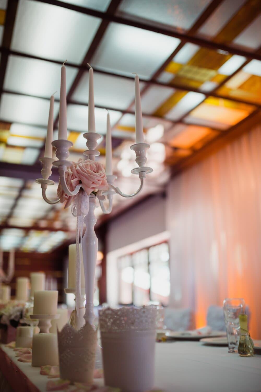 elegant, white, candles, candlestick, interior decoration, restaurant, indoors, wedding, interior design, lamp