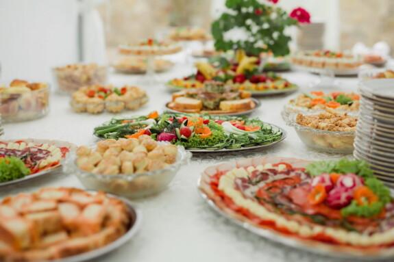 бюфет, печени изделия, предястие, салата, ресторант, хранене, вкусни, обяд, ястие, храна