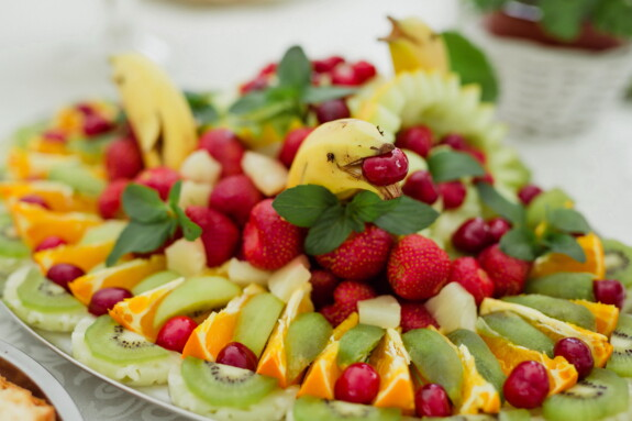 banana, dolphin, honeydew, decoration, food, fruit, dessert, berry, salad, delicious