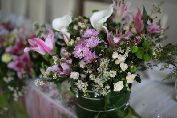 dekoration, bord, buket, vase, blomster, steg, lyserød, blomst, plante, järjestely