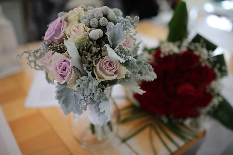 grüne Blätter, Pastell, Blumenstrauß, Rosen, Rosa, Schreibtisch, Büro, Empfang, stieg, Anordnung