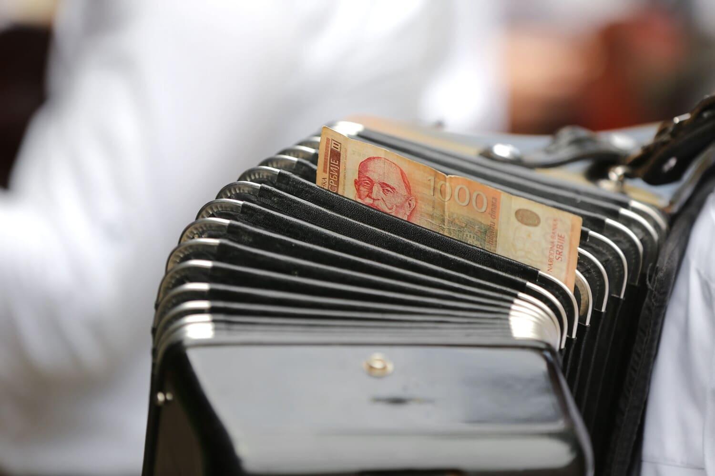 Akkordeon, Banknote, Geld, Unterhaltung, Bargeld, Entertainer, Musiker, drinnen, Geschäft, alt