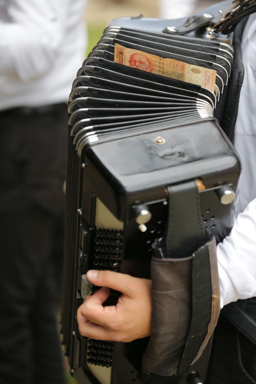 accordéon, musique, trésorerie, argent, musicien, Retro, homme, entreprise, gens, classique