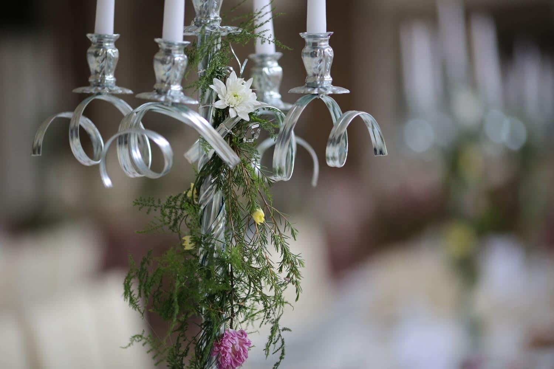white, candles, silver, candlestick, flowers, fancy, elegant, plant, flower, decoration