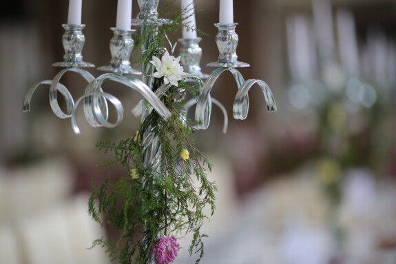 white, candles, silver, candlestick, flowers, fancy, elegant, plant, flower, decoration