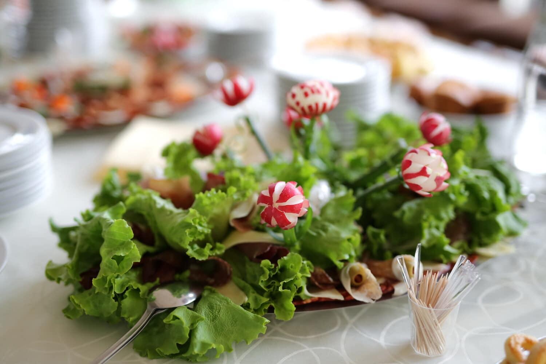 salad, radish, salami, breakfast, salad bar, fast food, garnish, meal, lettuce, plate