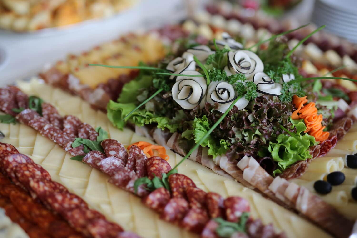 salami, appetite, appetizer, snack, buffet, sausage, delicious, food, lunch, vegetable