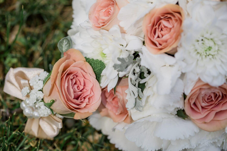 pinkish, bouquet, roses, close-up, pastel, romance, rose, groom, flower, nature