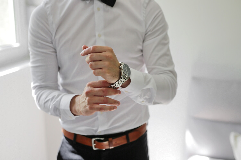 white, shirt, businessman, analog clock, businessperson, wristwatch, pants, professional, man, indoors
