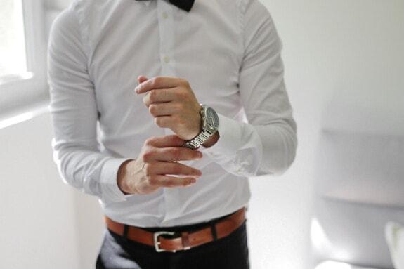 blanc, chemise, homme d'affaire, horloge analogique, homme d'affaires, montre à bracelet, Jeans/Pantalons, professionnel, homme, à l'intérieur