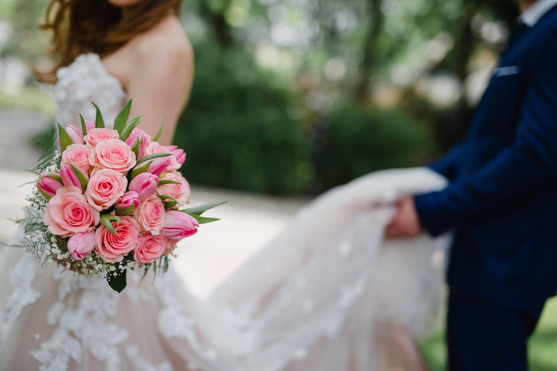 la mariée, bouquet de mariage, robe de mariée, jeune marié, vue de côté, fleur, amour, fleurs, bouquet, mariage