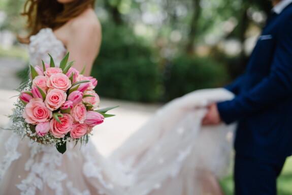 bride, wedding bouquet, wedding dress, groom, side view, flower, love, flowers, bouquet, marriage