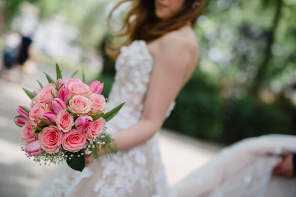 la mariée, bouquet de mariage, robe de mariée, des roses, rosâtre, femme, amour, bouquet, mariage, fleur