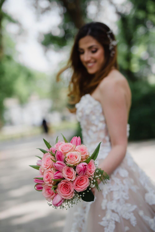 bouquet, bride, wedding, marriage, flower, flowers, dress, rose, love, woman