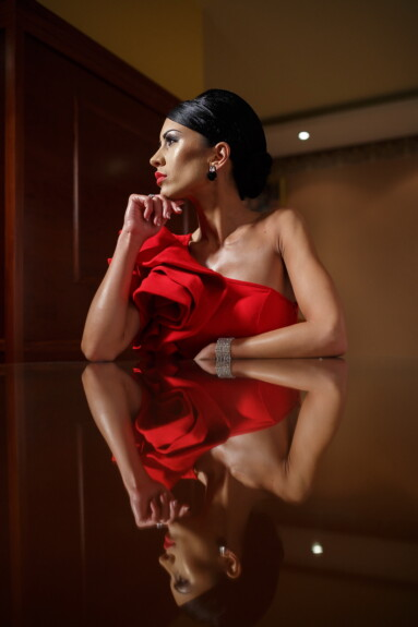 red, dress, young woman, sitting, table, reflection, woman, glamour, pretty, hair