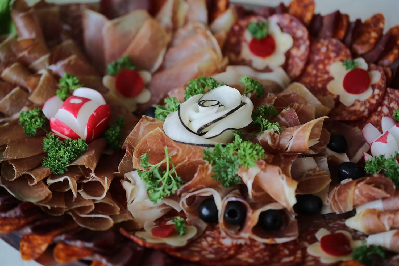 radish, salami, pork loin, pork, sausage, olive, parsley, appetizer, food, delicious