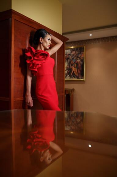 魅力, 构成, 博物馆, 漂亮女孩, 红, 穿衣服, 时尚, 模型, 女孩, 人