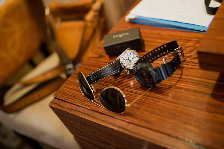 Mode, Analoguhr, Luxus, Sonnenbrille, Büro, Schreibtisch, Holz, Gerät, Antik, Retro