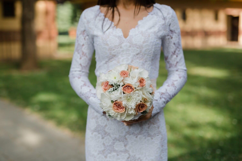 standing, bride, wedding bouquet, holding, wedding dress, portrait, wedding, woman, outdoors, summer