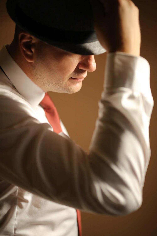 noir, chapeau, homme, Portrait, costume de smoking, gentilhomme, gens, à l'intérieur, mode, brouiller
