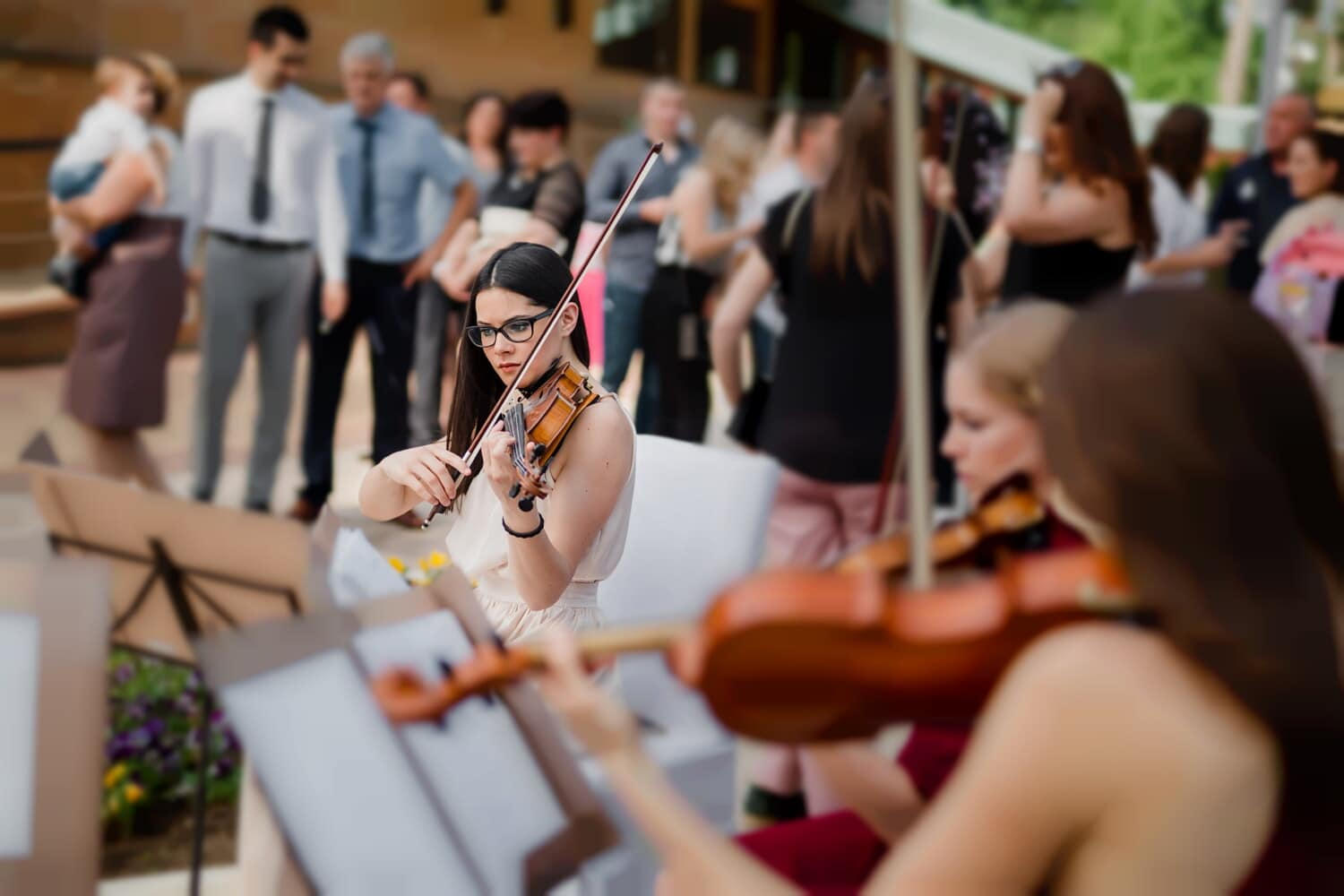 orchestra, festival, street, musician, violin, music, concert, instrument, people, performance