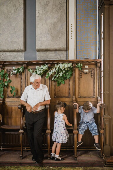 children, granddaughter, grandchild, grandson, grandfather, chairs, church, cheerful, people, family
