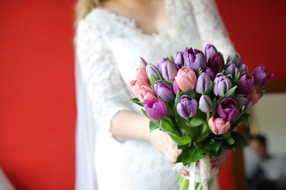 bride, wedding bouquet, holding, tulips, bouquet, purple, romance, flower, wedding, groom
