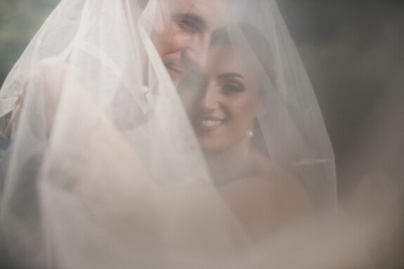 bride, groom, underneath, wedding dress, veil, wedding, marriage, love, woman, girl