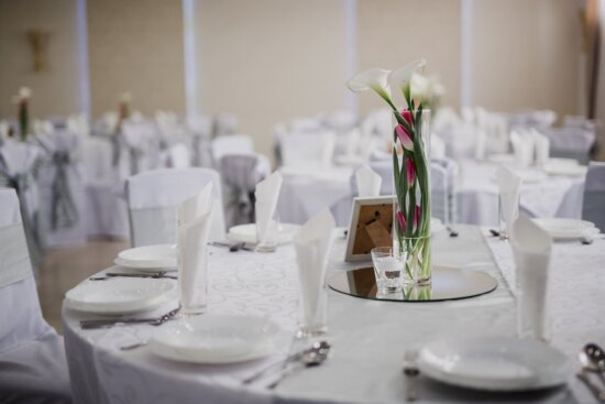 lunchroom, tablecloth, empty, table, vase, elegant, flowers, white, cutlery, dining
