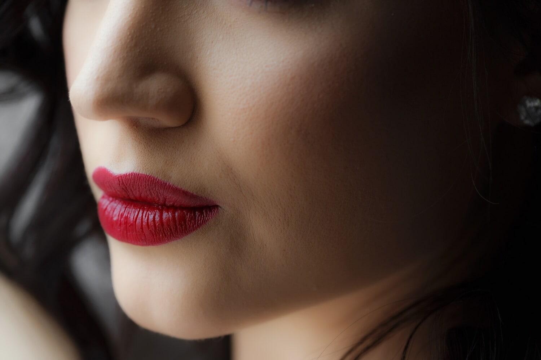 bouche, Dame, rouge à lèvres, lèvres, femme, fermer, nez, cheveux, peau, soin du visage