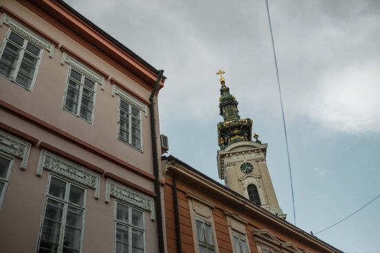 houses, church tower, street, windows, building, architecture, tower, city, church, old