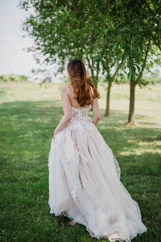 robe, Jolie fille, élégant, marche, arbres, pelouse, jeune fille, nature, herbe, amour
