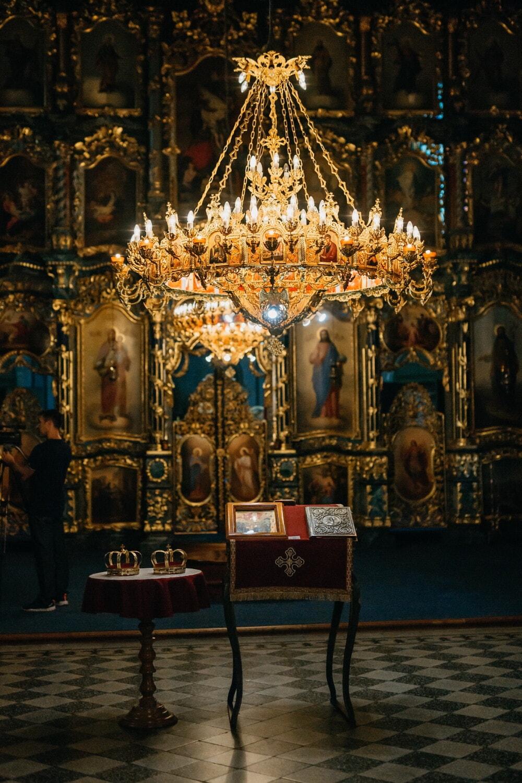 orthodox, ukraine, church, interior design, altar, saint, icon, religion, structure, chandelier