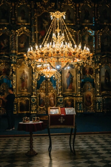 orthodox, ukraine, church, interior design, altar, saint, icon, religion, structure, chandelier