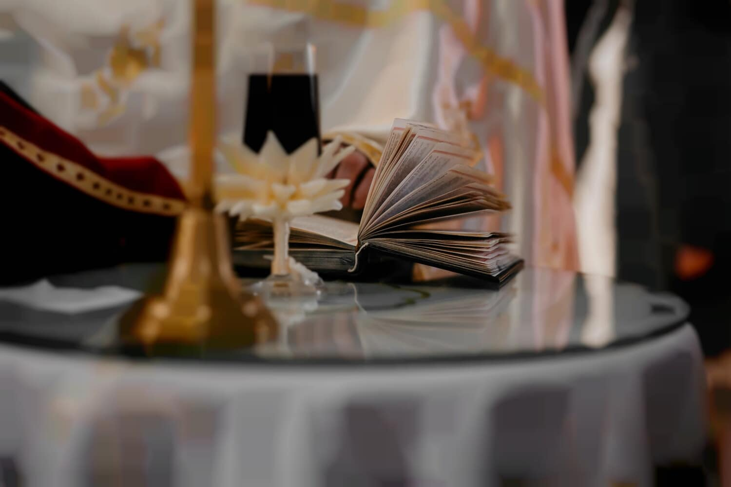 bible, priest, reading, church, christianity, religion, indoors, interior design, luxury, candle