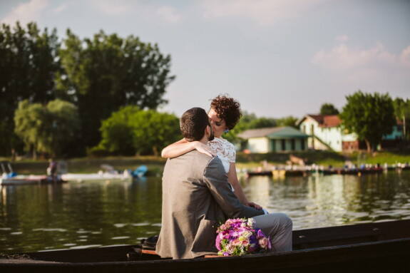 romantic, love date, kiss, lakeside, boat, embrace, affection, hugging, love, emotion
