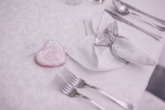 dinner table, Valentine's day, ring, diamond, heart, napkin, silverware, cutlery, table, decoration