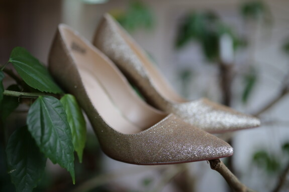 элегантный, Сандал, прут, филиалы, моды, размытие, лист, обувь, натюрморт, крупным планом