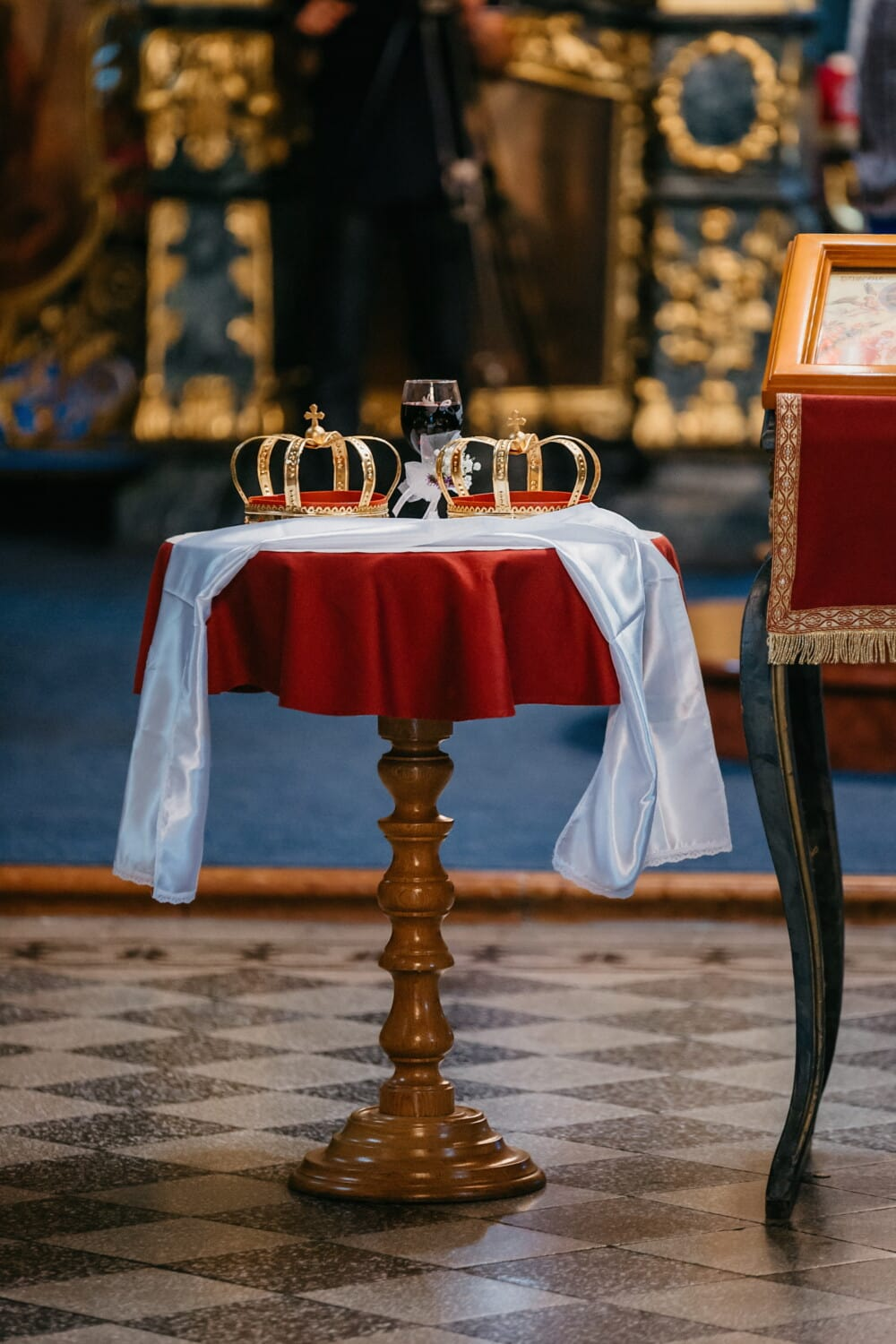 church, coronation, red wine, crown, orthodox, russian, table, indoors, interior design, luxury