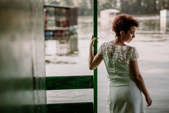 woman, boathouse, brunette, fashion, posing, white, dress, portrait, girl, nature