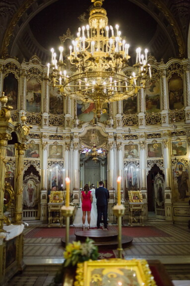 église, Serbie, orthodoxe, à l'intérieur, Monastère de, autel, mariage, la mariée, parrain, jeune marié