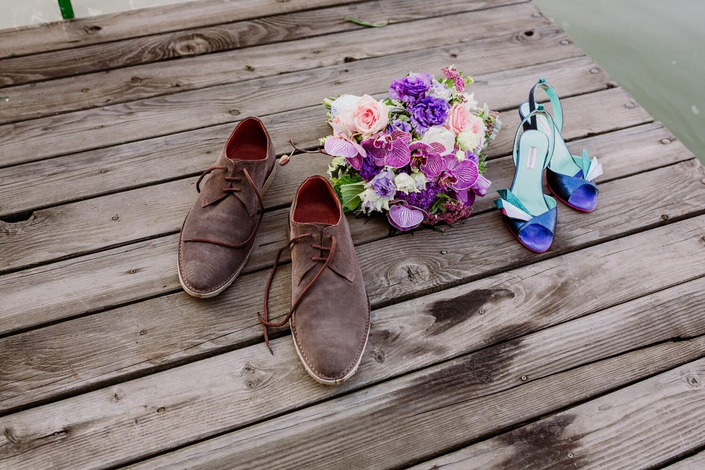 pier, wooden, sandal, shoes, summer season, shoe, summer, wood, footwear, flower