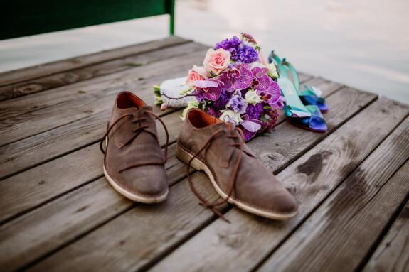 Schuhe, Seebrücke, Orchidee, Blumenstrauß, Leder, hellbraun, Schuhe, Sommer, Strand, Schuh