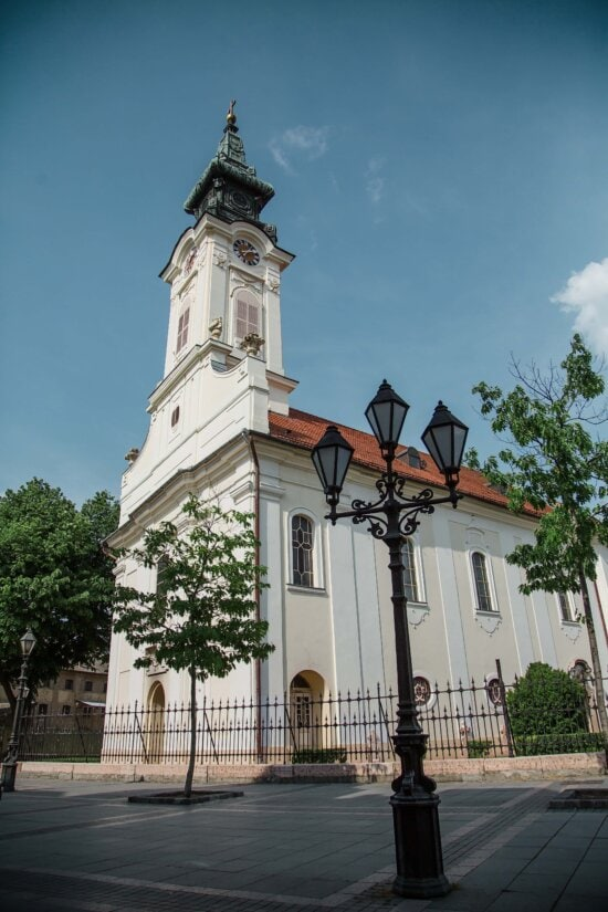 white, church tower, lamp, street, tower, architecture, building, monastery, church, city