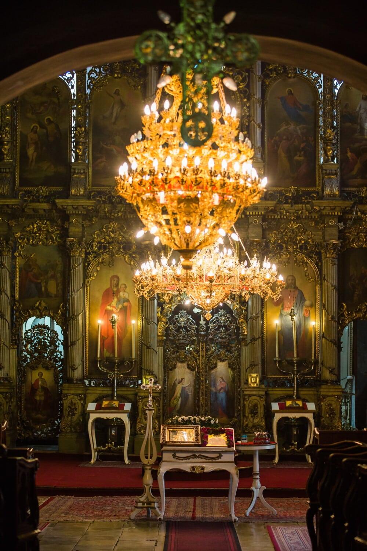 Altar, orthodoxe, Ukraine, Kirche, Symbol, Heilige, Stuhl, Kronleuchter, Religion, Gold