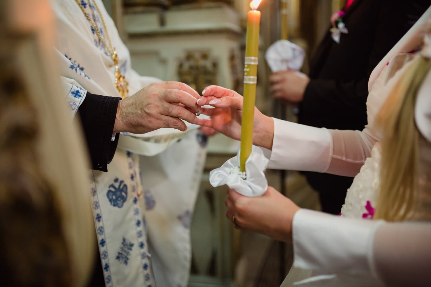 priest, wedding, orthodox, ceremony, bride, groom, wedding ring, candlelight, candle, torch