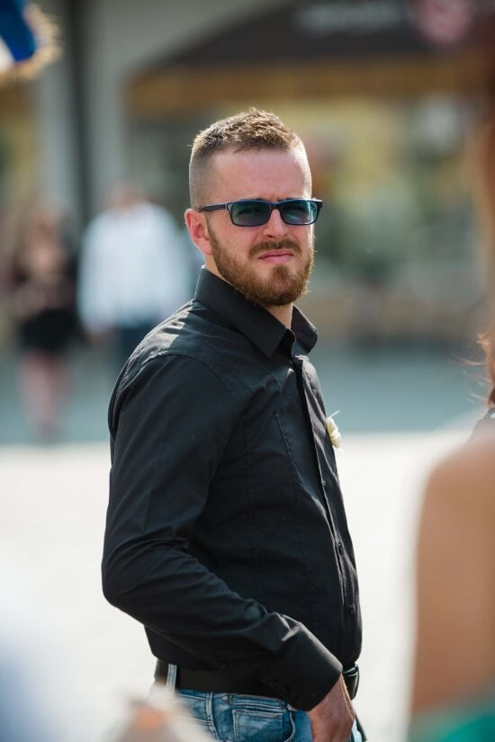 handsome, young, man, mustache, beard, posing, portrait, glamour, sunglasses, outdoors